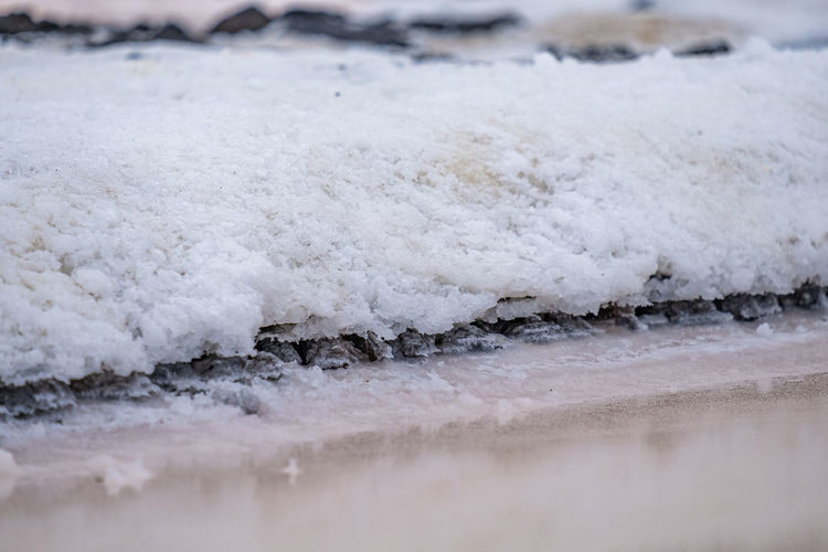 Close-up of frozen sea shore