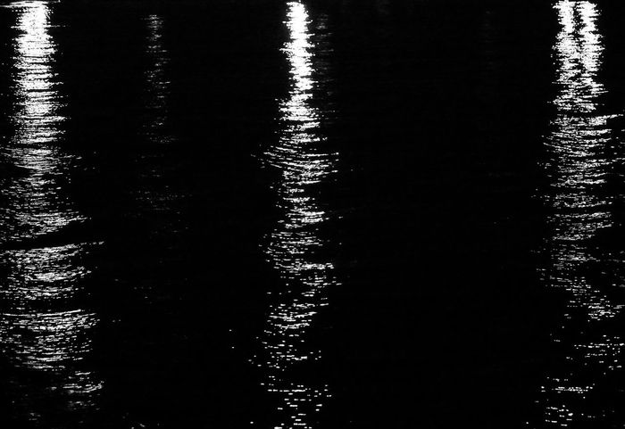 Three reflections in dark water 3 Black & White Lights Three Lights Tranquility Blackandwhite Lights In The Water Nature No People Outdoors Reflection Reflections Reflections In The Water Silence Three Water Waterfront