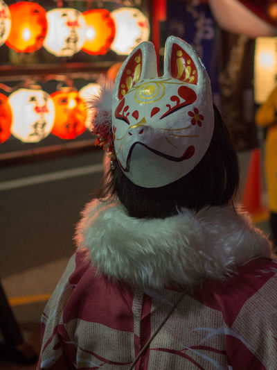Mask - Disguise One Woman Only One Person Close-up People Day Beautiful Japan Festival Japan Japan Photography Japanese Festival Japanese Photography 狐の行列 狐 狐のお面 狐の面 狐面 Fox Fox🐺 Olympus Om-d E-m10 EyeEm
