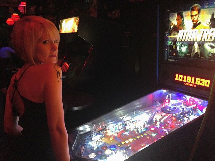 Pinball Princess Light And Shadow One Person Looking At Camera Beautiful Woman Blonde Hair She Walks In Beauty Eyes Indoors  Lifestyles Illuminated One Woman Only Lifestyle Photography Pinball Clubbing Club