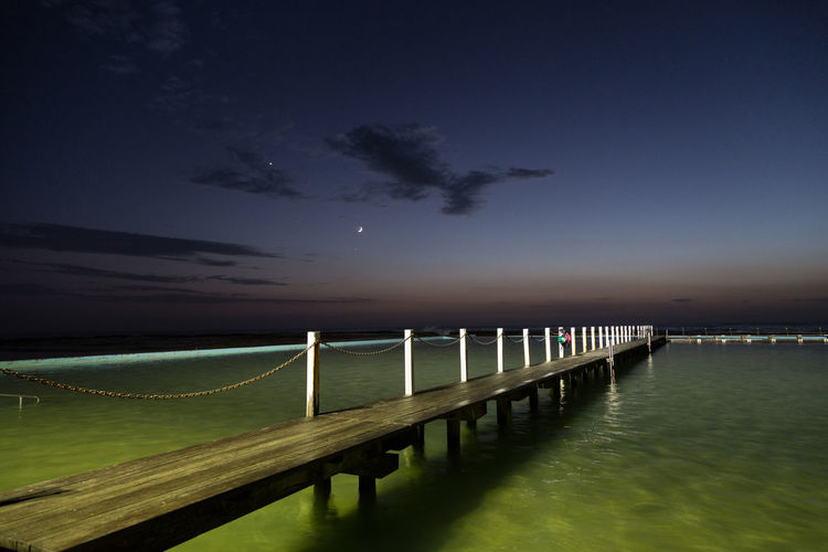 Architecture Beach Beauty In Nature Chain Cloud Moon Morning Morning Sky Nature Night No People Outdoors Pier Railing Scenics Sea Sky Star Timber Tranquil Scene Tranquility Water Wood