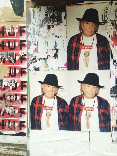 San Francisco Urban Wheatpaste Advertising Neil Young Supreme Celebrity Streetphotography Fashion Style