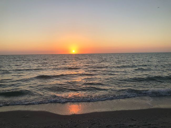 So far away Sunset Sea Beauty In Nature Scenics Horizon Over Water Nature Sun Tranquil Scene Sand Reflection Wave Clear Sky Idyllic Water No People Tranquility Orange Color Outdoors Sky Beach