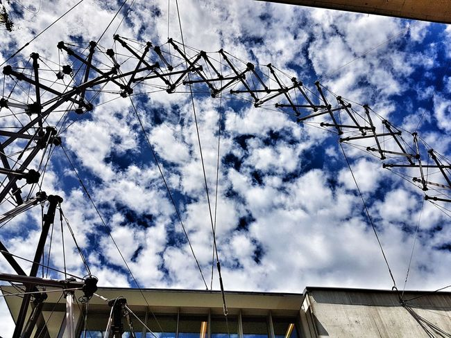 Sky Cloud - Sky Low Angle View Day Outdoors Built Structure Architecture No People Building Exterior Steel Ropes Ladder Jakob Himmelsleiter Ladder To Heaven