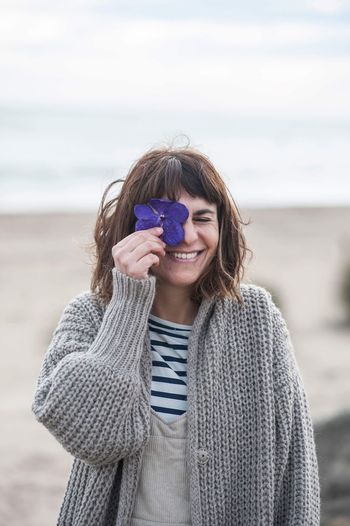EyeEm Selects Gangandthewool Wool Tinywool One Person Beach Young Women Happy Flower Photo Photography Photographer Happymoments Realx Portrait Barcelona Living Smile Real People Grey Coat