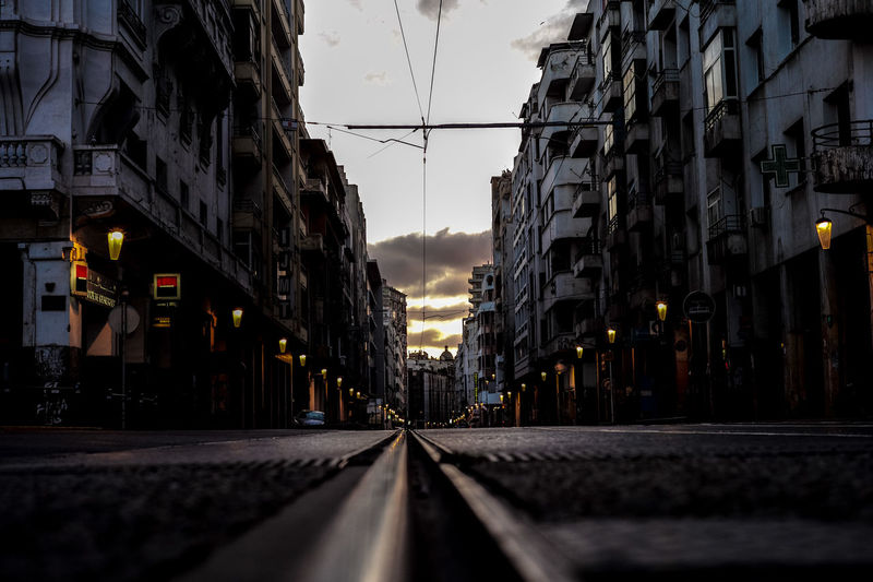leading lines Casablanca Morocco Morocco Diary No People Rail Street Sunset Surface Level Tram Vanishing Point