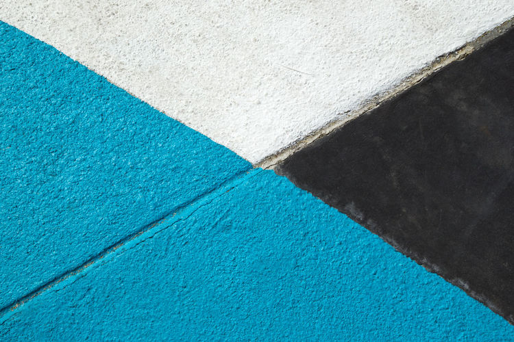 Blue, gray and white textured surface of asphalt for abstract background, top view. Asphalt Bright Copy Space Diagonal LINE Textured  Abstract Art Background Blue Colorful Contrast Flat Lay Geometry Gray Half Minimalism Pattern Simple Sky Stone Street Surface Triangle White Color