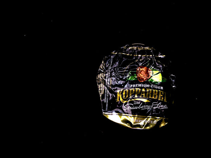 Koppaberg Crumpled Food And Drink Aluminium Can Art And Craft Black Background Close-up Container Copy Space Craft Creativity Cut Out Dark High Angle View Indoors  Kopparberg Metal No People Pattern Representation Single Object Still Life Studio Shot