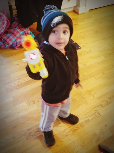 Nerf Gun Child's Play Family❤ Full Length Hardwood Floor Home Interior Multi Colored