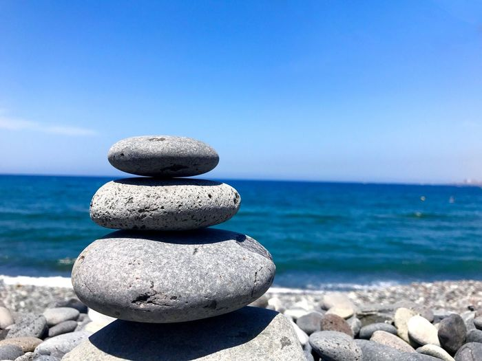 TakeoverContrast Sea Water Rock - Object Horizon Over Water Balance Stone - Object Tranquil Scene SPAIN Beauty In Nature Nature Beach Tranquility Day Stability Blue Idyllic No People Tenerife TCPM