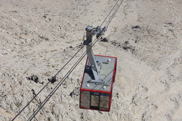 High Angle View Of Overhead Cable Car Over Field