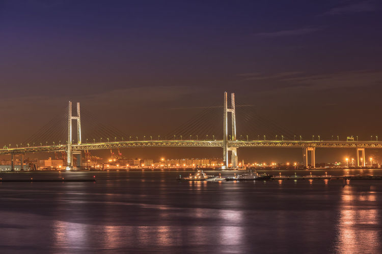 Bridge of yokohama over sea at night