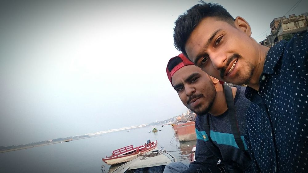 EyeEm Selects Two People Men Sky Water Mature Adult Togetherness Only Men Day Outdoors Ghaat Varanasi Be. Ready. EyeEmNewHere EyeEm Ready