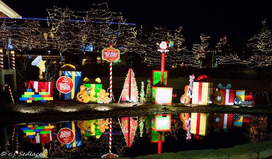 Night Multi Colored Illuminated No People Celebration Outdoors Architecture Sky Gene Leahy Mall Downtown Downtown District Omaha Photographer Nebraska Christmastime Christmas Lights Omaha, Nebraska