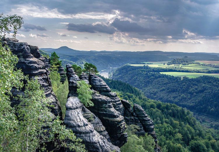 Elbsandsteingebirge Elbsansteingebirge Beauty In Nature Day Geological Formation Geology Germany Landscape Mountain Nature No People Outdoors Sachsen Scenics Sky Tranquil Scene Tranquility Tree