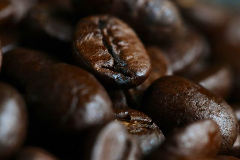 Close-up of roasted coffee beans