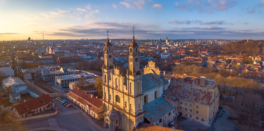 VIlnius city old center from above Architecture Building Exterior Built Structure Cityscape City Sky Building High Angle View Crowd Cloud - Sky Travel Destinations Residential District Nature Crowded City Life Travel Tower Tourism Sunset Outdoors Vilnius Vilnius Old Town Lithuania Capital Cities  Capital