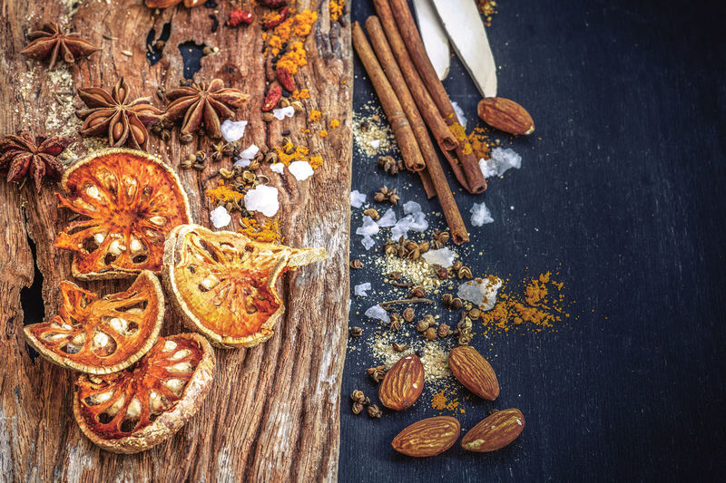 Directly above shot of spices with almonds on table