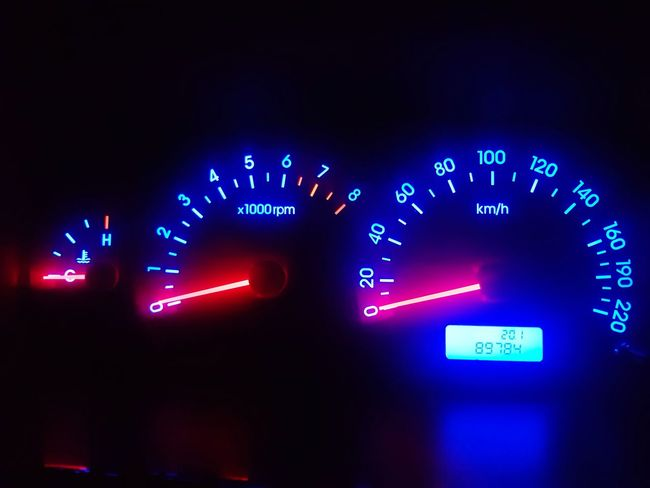 Jeans Brown Photography - Speedometer Jeans Brown Photography Close-up Closeup Car Cockpit Speedometer Close Up Full Frame Neon Illuminated Speedometer Blue Control Panel Glowing Purple Vehicle