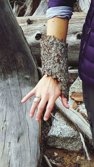 A new, woodsy arm band style! Jewelry Bark Tree Bark Bracelet Arm Fashion Natural Wood Tree Lady Model The Great Outdoors NatureNature_collection Check This Out Hand Rough Woods