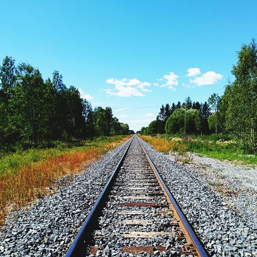 Railroad track amidst trees against blue sky