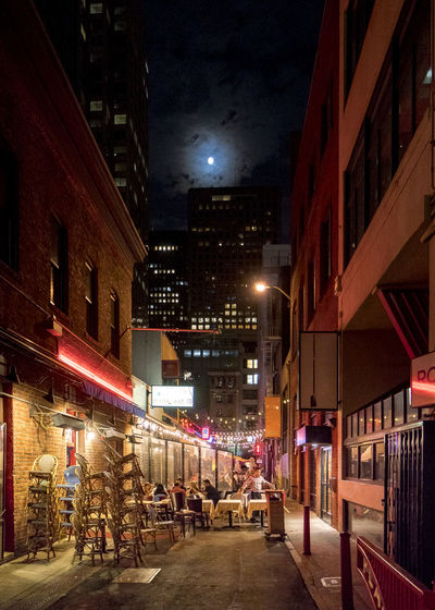 Dinner in the dark Architecture Building Exterior Built Structure City Dining Illuminated Night No People Outdoors Sky