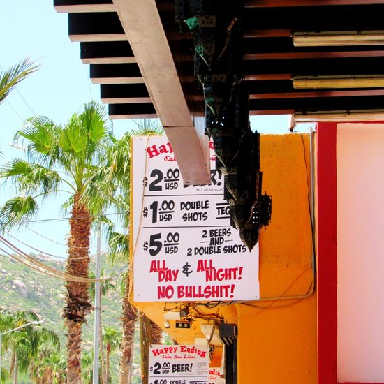 Happy Ending Bar Palm Trees Bar Sign Advertisement Cabo San Lucas Mexico Cheap Drinks