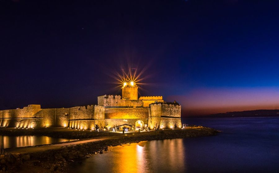 The Castle Italy Italia Calabriadascoprire Calabria (Italy) Calabria Crotone Night Sea Architecture Night Illuminated Building Exterior Built Structure History Castle Reflection Sky Water Outdoors Travel Destinations Ancient Fort