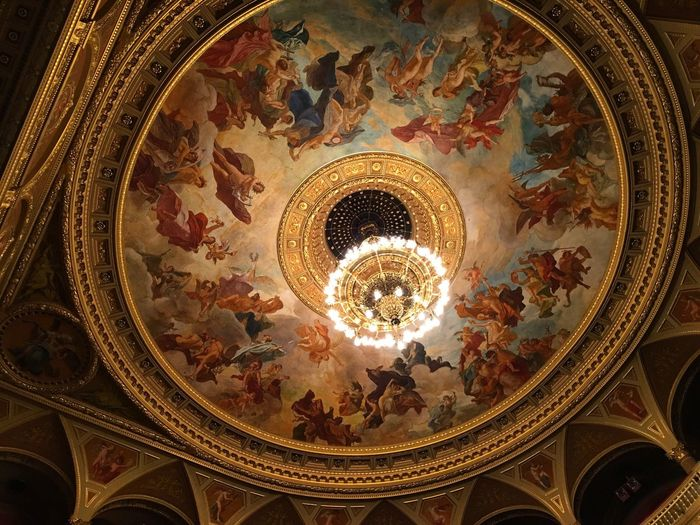 Low Angle View Ceiling Illuminated Indoors  Travel Destinations Architecture Tourism Built Structure No People Dome Fresco Day Operahouse Budapest