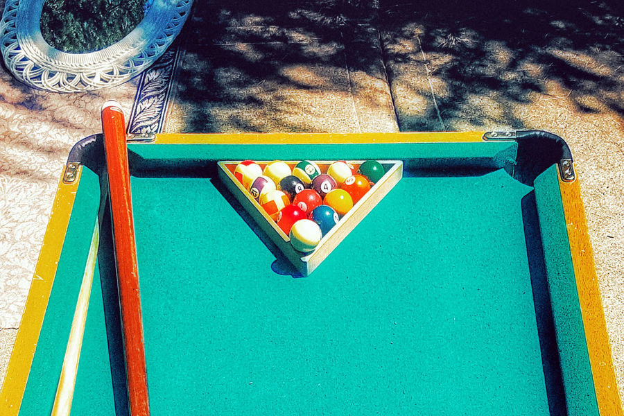 A mini pool table at a garage sale. Pool Table Pool Billiards Billiard Table Billiard Cue Pool Balls Pool Stick Racked HDR On The Street Side Of The Road Curbside Garage Sale Still Life Outside Curb Billiard Ball Table Green Felt Game Table Balls Snooker Snooker Table Recreation