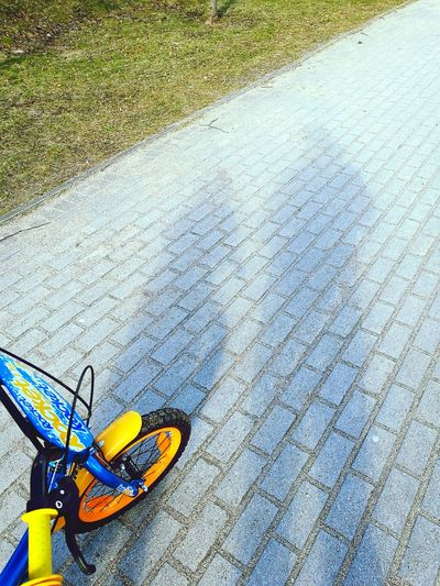 High Angle View Outdoors Asphalt No People Day Textured  Shadow Fatherhood Moments Father & Son Bike Family Time