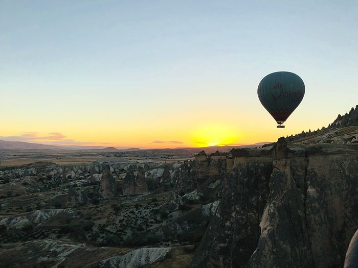 View of hot air balloon at sunset