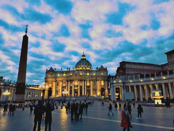 City Architecture Travel Destinations Cloud - Sky Large Group Of People Illuminated Travel Tourism Building Exterior Statue Sky Night Built Structure People Crowd Outdoors Sculpture Men Cityscape City Gate Vatican Obelisk Vaticano City Vatican City Vatican Roma Vaticanpanoramic