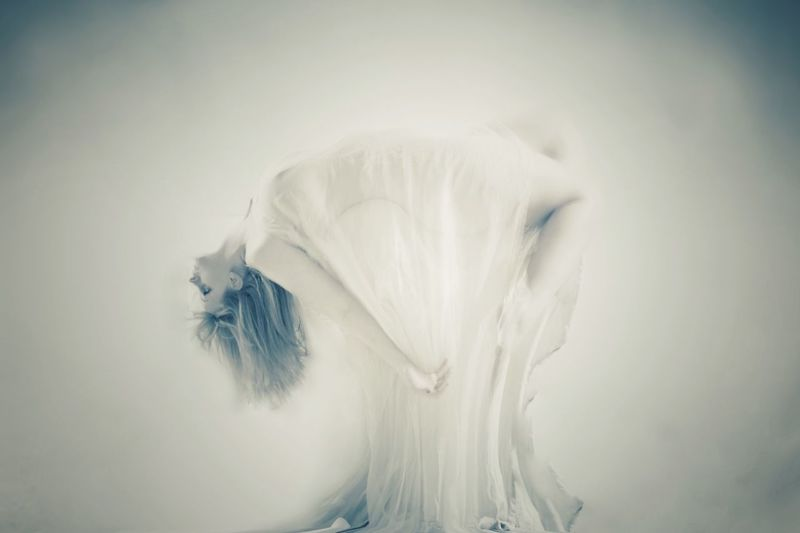 Portrait Of Woman Levitating