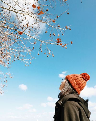 Low angle view of woman looking at tree against sky during winter