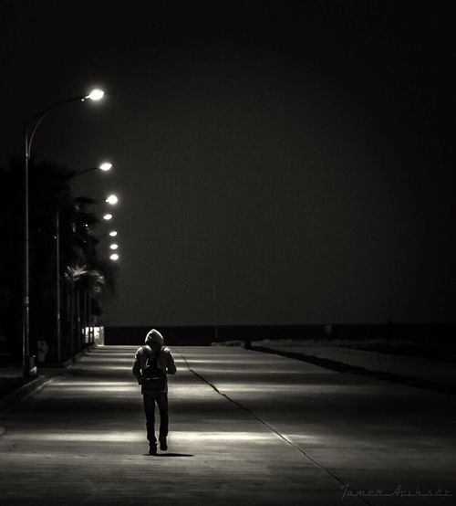Ömer vol:1 Night Illuminated One Person Street Light Full Length One Man Only Men Lighting Equipment Rear View Outdoors Road Real People Only Men Adults Only People Adult