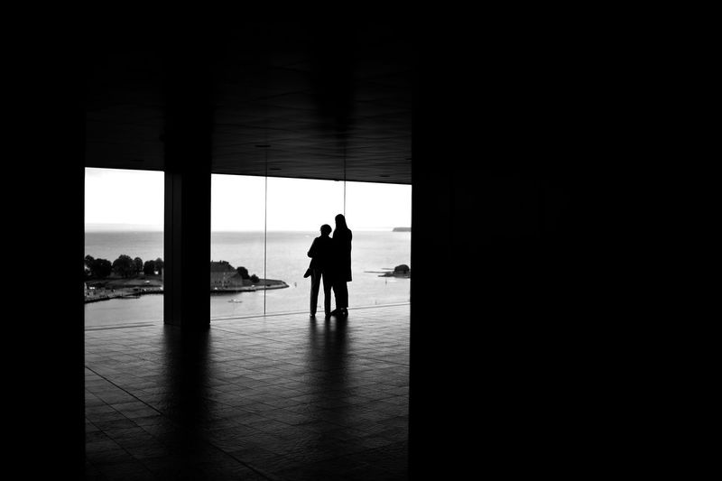 Silhouette man standing by window in building