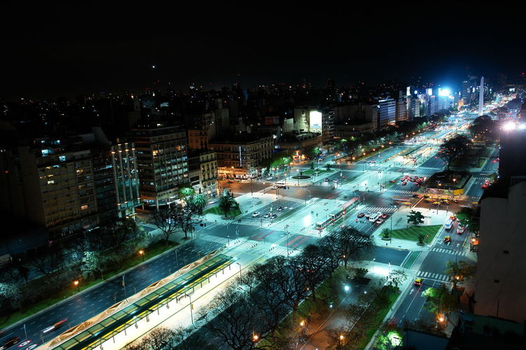 Avenida 9 De Julio City City Street Cityscape Elevated View Illuminated Night