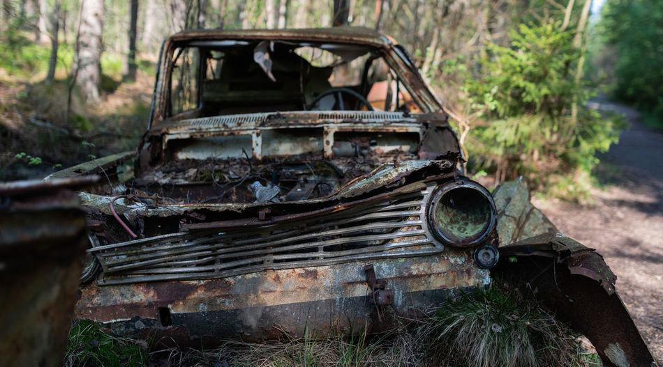 Kyrkö Mosse Automobile Bilkyrkogården Cars Sweden Car Car Cemetery Forest Old Rotten Rotten Cars Rusty