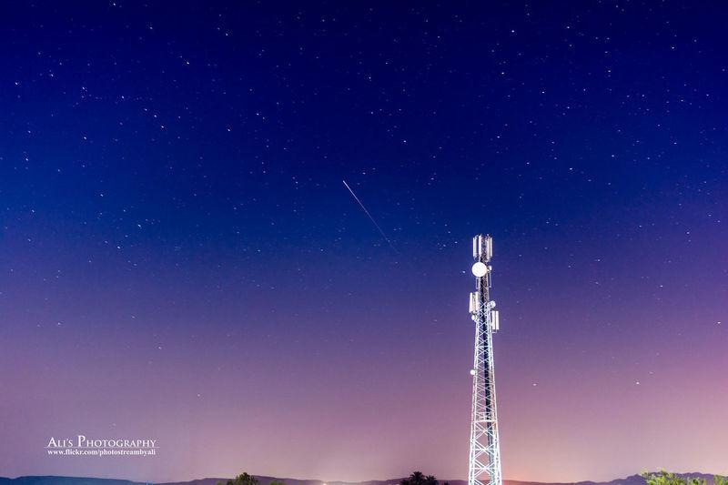 Irridum flare with GSM tower Irridum Warid Gsm mobile communication Satellite communication Night stars Blue Sky Ali's Photography Nikon Nikkor 50mm F1.8 Pakistan