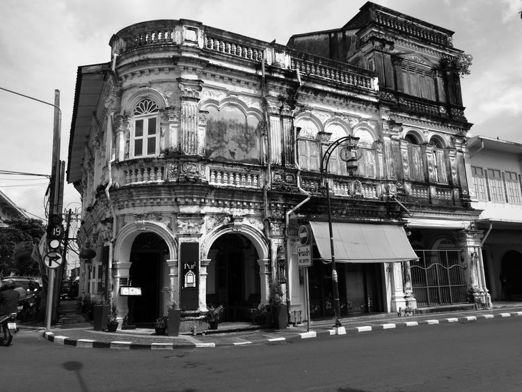 Architecture Built Structure Building Exterior Façade History Chino-Portuguese Phuket Old Town Monochrome