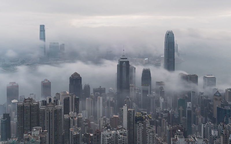 Morning aerial view of sea of clouds cityscape, hong kong