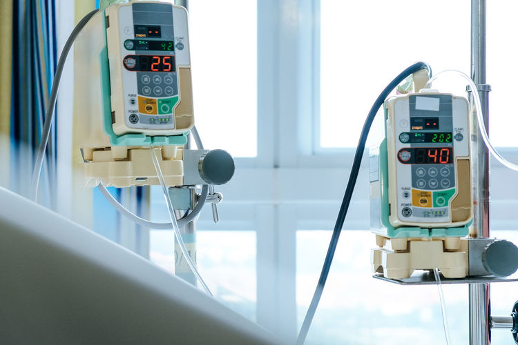 Close up of infusion pump in hospital,Medical Care Medical Care Medical Equipment Medical Supplies Hospital InFusion Infusion Pump Iv Drip Saline Drip Equipment Technology Still Life Care Sick Healthcare And Medicine Healthy Patient Patientcare