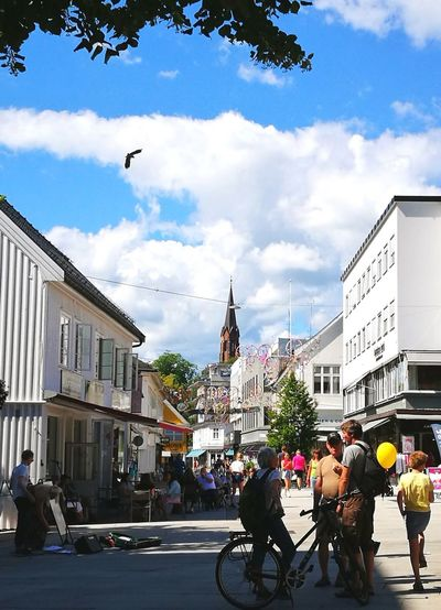 City Life Street Architecture People Outdoors Day Summer Lifestyles Cloud - Sky Large Group Of People Built Structure Architecture City Life Tønsberg, Norway Travel Destinations Building Exterior Sky City