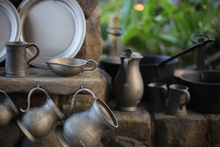 EyeEm Selects Household Equipment No People Kitchen Utensil Still Life Container Indoors  Cup Teapot Focus On Foreground Jug Choice Kettle Metal Close-up Large Group Of Objects Old Day Variation Ceramics Crockery