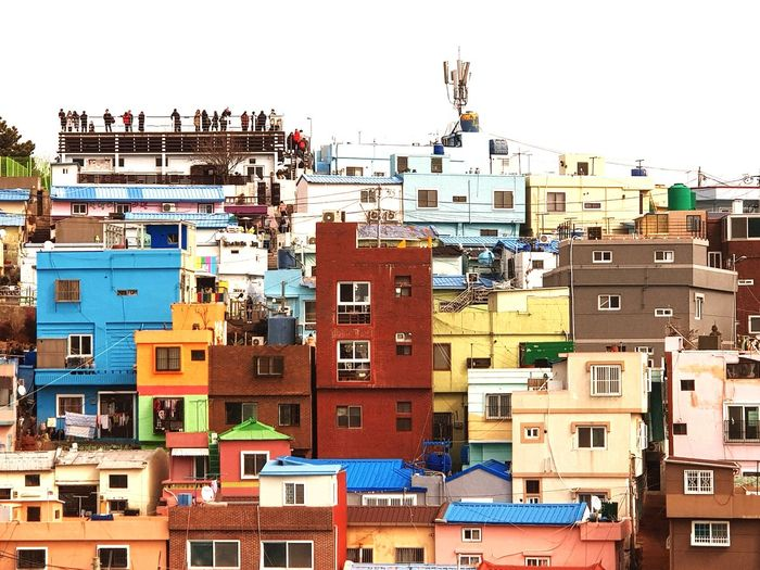 One Of Famouse Small Towns In Busam Colorful Houses Busan Gamchunmaeul People Of The Sky Outdoors Travel Destinations Architecture