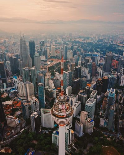 High angle view of kl tower, malaysia