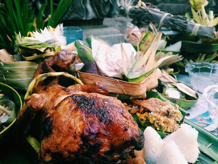 Close-up of roast chicken