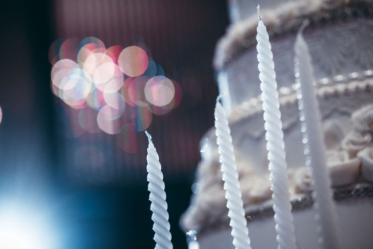 Defocused image of hanging from metal