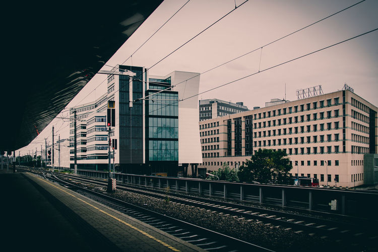 EyeEm Best Shots EyeEmNewHere Architecture Building Building Exterior Built Structure Cable City Day Mode Of Transportation Nature No People Outdoors Public Transportation Rail Transportation Railroad Station Railroad Track Sky Station Track Train Train - Vehicle Wien